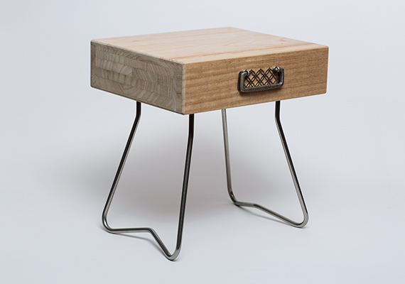 This stool was born from a project that uses the tension system of steel legs by Mr.Nogimura. It made from  the end material emanating from paulownia chest manufacturers of Japan. http://104project.com<br>[ size: 320*300*250 | material: paulownia,steal | project: 104project ]<br>Photographed by Tomoharu NISHIMURA